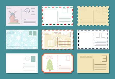 Postcards retro banner set. Celebration vintage greeting letters traditional empty featuring antique buildings new years eve with green fir tree and falling snowflakes. Creative vector nostalgia. 矢量图像