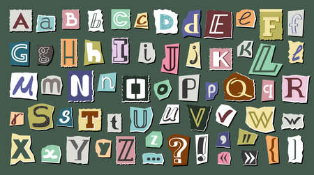Journal cut letters and symbols set. Colorful alphabet selected from newspaper clippings with capital letters anonymous art typing from scrap letters. Vector typographic communication. Illusztráció