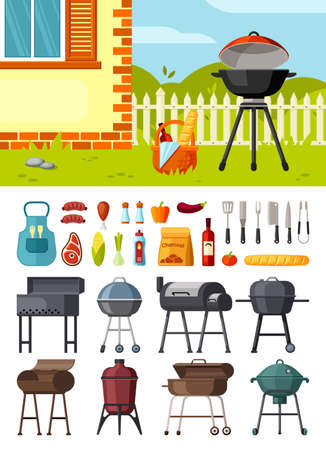 Braziers and barbecue set. Cooking equipment for frying meat and vegetables round metal square geometric shapes propane and charcoal picnic outdoor family fun. Cartoon vector grilling.
