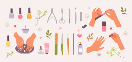Manicure in spa salon set. Healing bath for hand skin red nail polish finger nail file and scissors glamorous cosmetics art with tweezers and colored bottles of coloring liquid. Vector cartoon.