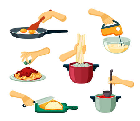 Hands prepare food set. Frying delicious scrambled eggs and whipping cream with mixer boiling pasta in water and decorating with lettuce leaves slicing bread making soup. Vector cartoon dinner.