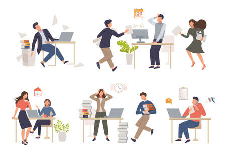 People in stress work set. Hot project delivery schedule and heavy processing female character holding his head in despair from overwork man overloaded with business affairs. Vector overwork.