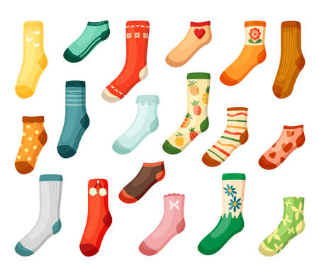 Adults and kids colored socks set. Warm green textiles with daisies bright woolen with red pineapple hearts drawing white stripes and stylish orange with butterflies trendy short. Vector fabric.