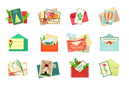Greeting envelopes with postcards set. Romantic invitations and holiday bright decorations white daisies envelope with red hearts decorative green spruce cover christmas birthday. Blossom vector art. 矢量图像