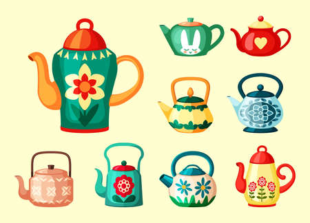 Colored teapots with drawings set. Bright green vessel with red vintage flower and yellow heart brewing ceramic decoration hares head and floral colorful ethnic ornament. Vector hot tea.