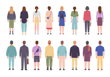 Men and women in different clothes standing with their backs set. Coming to work with briefcases and bags girls and guys in casual suits stand with back view stylish hairstyles. Cartoon vector. Vector Illustration