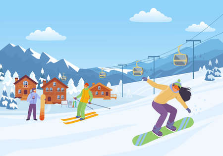 Cheerful winter sport illustration. Woman goes downhill snowboard with male character on skis cozy resort houses among snow covered fir trees and comfortable cable car. Vector rest