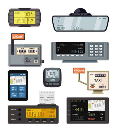 Modern and retro taximeters set. Accurate navigation and payment counters with yellow screen number of kilometers and comfortable trips and convenient credit cash payment. Taxi vector.