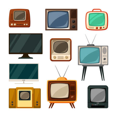 Modern and tube retro televisions set. Plasma smart gadgets and vintage brown tv with small screen old compact signal reception through antenna red built in radio and wood speakers. Vector watch. Ilustração Vetorial