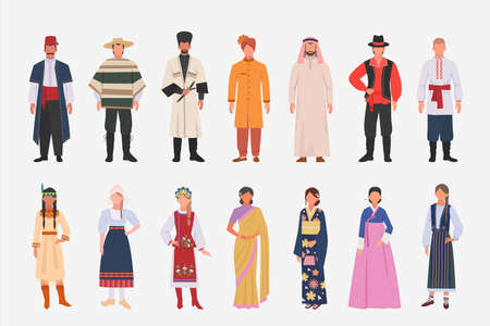 Different people nationalities in ethnic clothes set. Mexican in poncho hindu in turban male and female avatar characters in japanese kimono arab white toga indian girl. International vector.