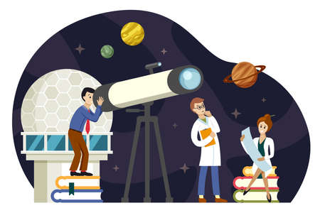 Astronomers scientists study space illustration. Observation planets and stellar bodies new discoveries secrets universe creation and analysis modern equipment for galactic travel. Vector cartoon.