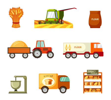 Collection and transportation grain and baking set. Green harvester mowing wheat and tractor trailer carrying golden pile rye transporting flour and truck delivery baked goods store. Vector harvest.