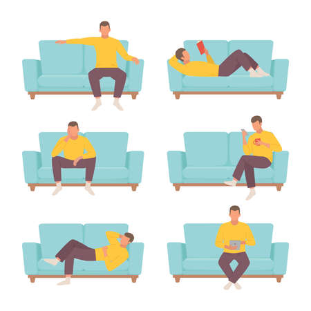 Male character resting on sofa set. Guy in yellow sweater reads interesting book blue ottoman and sits thought watches news his smartphone while drinking coffee and works with tablet. Cartoon vector.