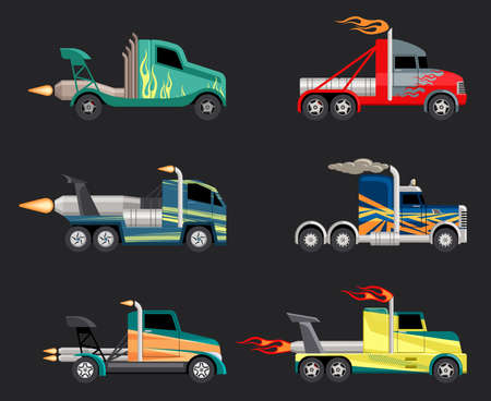 Racing trucks set. Powerful futuristic cars with jet engines fashionable coloring for extreme sports high speed on massive wheels with flying flames and body paint. Cartoon adrenaline vector.