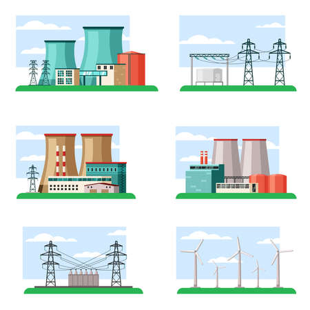 Industrial and ecological power plants set. Technological structures powerful pipes fueled nuclear fuel and coal substation containers connected iron poles safe wind turbines. Cartoon eco vector.
