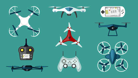 Technological drones set. Modern wireless quadcopters with red coloring white digital control panels with ability navigate delivery unmanned surveillance and video filming. Vector multicopter.