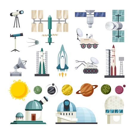 Space education for exploring traveling set. Planetary tracked scout drones and observatories with powerful telescopes rockets orbiting satellites shuttles parabolic antennas. Vector universe. Vecteurs