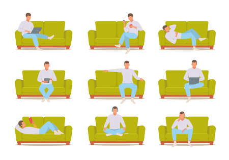Man on sofa set. Male character in white sweater works laptop on green ottoman reads interesting book and sits thought watches news his smartphone while drinking coffee. Lifestyle vector.