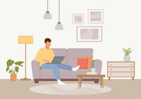 Convenient work at home illustration. Male character sitting with laptop cozy soft purple sofa calm atmosphere home leisure and relaxed freelancing in pandemic. Cartoon vector calmness.