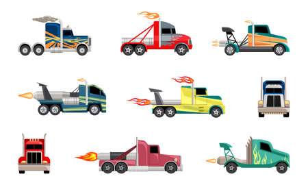High speed heavy trucks set. Cars with powerful jet engines fashionable coloring for extreme futuristic sports on massive wheels with flying flames and body paint. Motorsport cartoon vector.