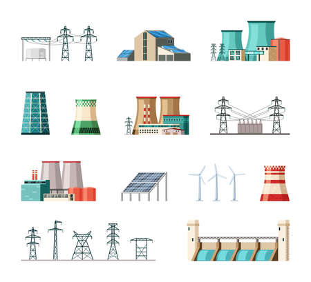 Industrial and ecological electric power installations set. Powerful structures pipes fueled nuclear fuel and coal substation containers connected iron poles safe wind turbines. Cartoon vector.
