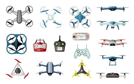 Varieties quadrocopters and drones set. Futuristic delivery and exploration models wireless with blue coloring white digital control panels with navigate unmanned surveillance. Vector multicopter. 向量圖像