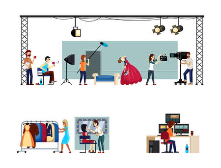 Filming process set. Actors act out scene in special scenery with film crew professional makeup artists and recording studio with editing video sequence. Vector cartoon filmmaking.