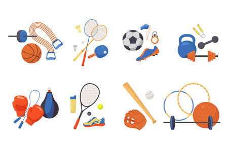 Sports items set. Glove and baseball bat fitness ball with hoops punching bag and skipping rope tennis racket.