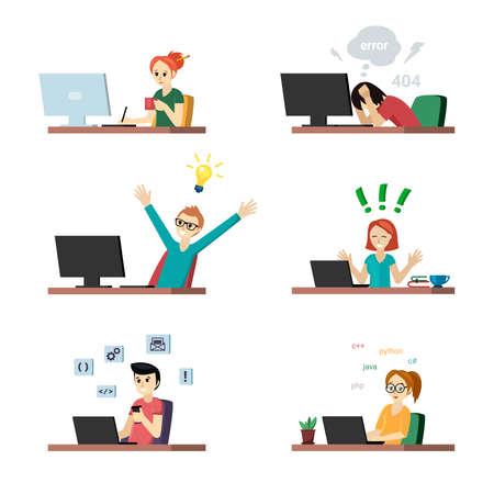 Programmers at work set. Joyful girl at laptop and guy with new idea for coding tester in despair because of errors in program man configures application. Vector creative programming Illustration