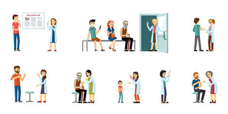 Doctors vaccinate people set. Prevention of infection characters have prophylactic injection against immunization of population during pandemic immunoprotection. Vector flat protection. Illustration