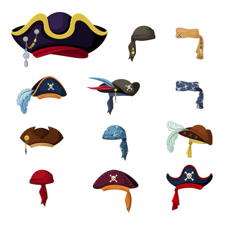 Colorful corsair and pirate hats set. Vintage headscarves and retro elaborate headwear with feathers symbols of captain and sailor traditional outfit of sea robbers and raiders. Vector cartoon. Illustration