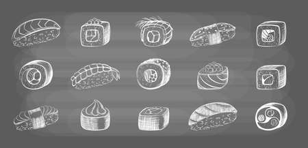 Hand drawn sushi rolls set. Sketch japanese seafood and rice fresh fish pieces wrapped in seaweed delicious sashimi with soy sauce and wasabi delicious variety. Vector delicious lunch.