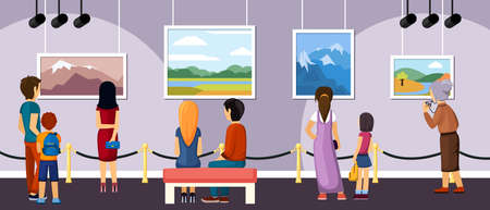 Exhibition of modern and retro art illustration. During excursion visitors see works of famous authors outstanding masterpieces present and past in landscape and surrealist style. Vector lifestyle. Vecteurs