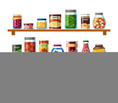 Tinned food on shelves illustration. Soup and corn sealed in cans farmers mushroom and tomato preparations for long term storage convenient packaging with ham and pork. Vector color stocks