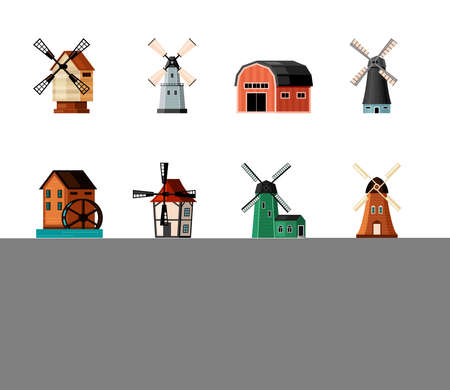 Retro windmills set. Color buildings with blades for grinding flour rustic old design and air powered traditional architecture with water and electric turbine. Vector agriculture flat. Illustration