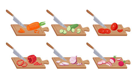 Vegetable slices on kitchen board set. Fresh food cut and shredded knife cuts ripe peppers and avocados appetizing tomato and eggplant vitamin vegetarian salads. Health vector eating.