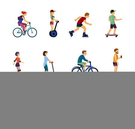 People on ecological transport set. Fun rollerblading and skateboarding rides active male and female characters ride gyroscooters and bicycles around city travel along road. Vector energy sport.