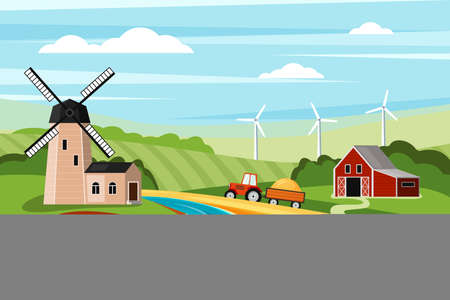 Farm summer landscape with mill illustration. Grasslands with mowed fields and tractor pulling wheat trailer to grind farm barn and wind turbines on horizon. Vector cartoon village Illustration