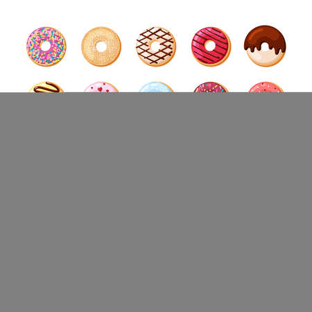 Colorful donuts with bright glaze set. Candy pastries with cream sprinkled with pink and chocolate powder festive treat with confectionery individual tracery decoration of holiday. Vector cartoon.