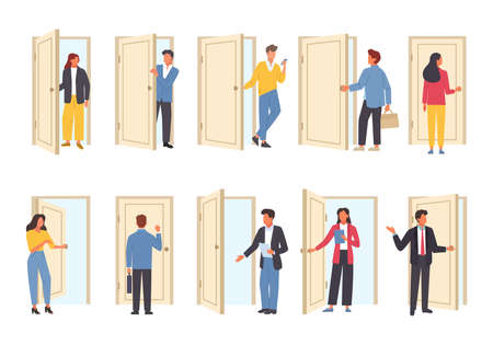 Business people come in and out of doors set. Daily work and life office characters come to job hr manager invites candidate for interview business woman walks into meeting. Cartoon vector. Illustration