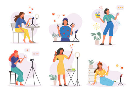 Womens online blogs set. Unpacking and web evaluation women conduct digital broadcasts with makeup and fashion tips stories from life social networks and vlogs of everyday life. Vector lifestyle.