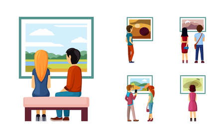 People looking paintings set. Male and female characters exhibition admire classic and contemporary painting collections of artists and landscape painters in stylish designs. Vector cartoon art. Illustration