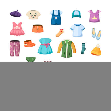 Colorful clothes for little ones set. Stylish baseball caps and shoes dresses for toddlers beautiful tshirts and sweaters colorful designs for joyful kids with cute modern style. Vector cartoon. Illustration