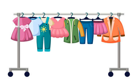 Childrens clothes in trendy market illustration. Hanging overalls and dresses for boys and girls in creative designs jeans and jackets are best collections for little ones. Vector fashionable flat.