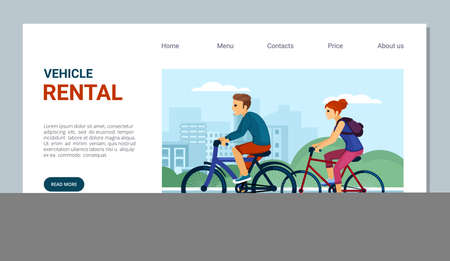 Rent and hire bicycles landing page. Convenient trips out of town without buying bike outdoor activities with repairs and service stations trips on ecological transport. Vector cartoon banner. Illustration
