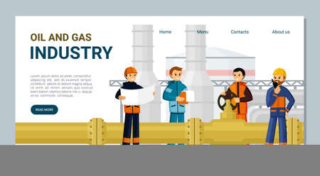 Gas and oil industry landing page. Professional workers with industrial equipment developing new fields, powerful processing plants and worlds infrastructure. Vector cartoon drilling.
