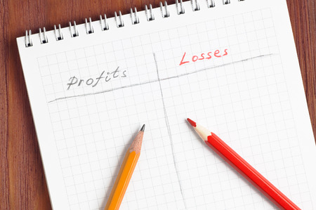 Notepad prepared for profits and losses counting with words handwritten by grey and red pencils lying over paper sheet, brown wooden table on background