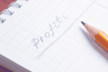 totals: Closeup of notepad with handwritten word Profits by grey pencil lying over paper sheet cold filtered shallow depth of field Stock Photo