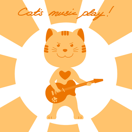 cats playing: Vector illustration of animal cat character playing music on electric guitar with handwritten title Cats music play