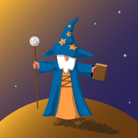 mage: Vector EPS10 illustration cartoon old wizard with magic book and staff preparing to cast a spell on abstract little planet surface against space with stars